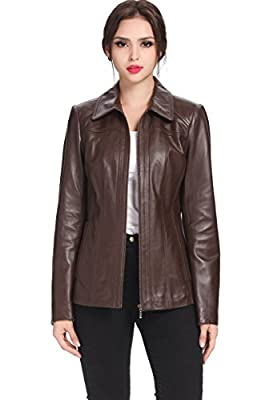 BGSD Women's Ellen New Zealand Lambskin Leather Jacket Espresso X-Large Petite