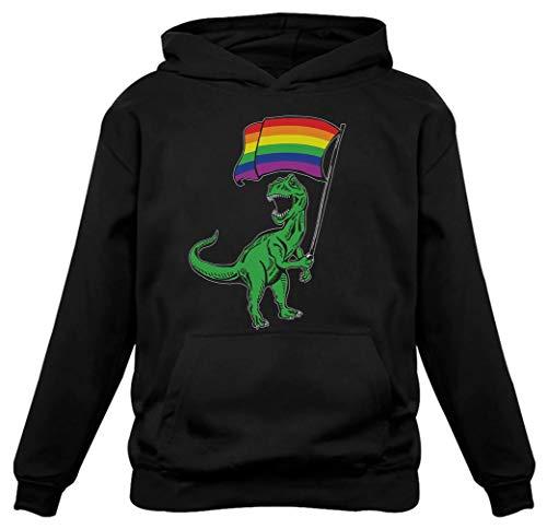 LGBT Pride Parade Gay Lesbian T-Rex Roar Rainbow Flag Women Hoodie Medium Black