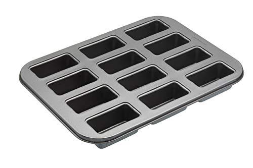 KitchenCraft Antihaft-Backblech mit Mini-Kastenform-Mulden und losen Böden, Stahl, Grau, 27 x 36 x 3 cm