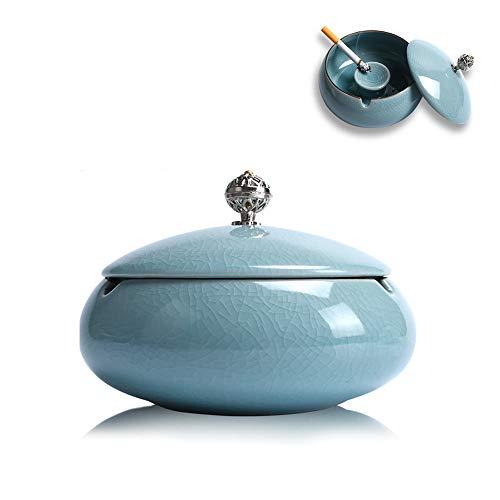 TUXUNQING Keramik Aschenbecher, Aschenbecher mit Deckel, winddichter Aschenbecher, Aschenbecher im chinesischen Stil, Zigarrenaschenbecher, zur Dekoration zu Hause und im Büro. (Blue)
