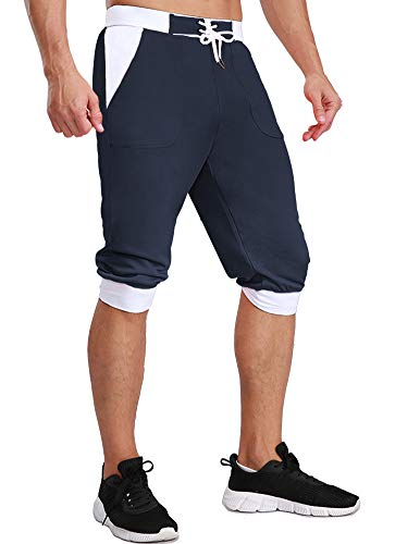 FASKUNOIE Men's 3/4 Joggers Three Quarter Pants Below Knee Comfortable Mesh Shorts with Pcokets Navy