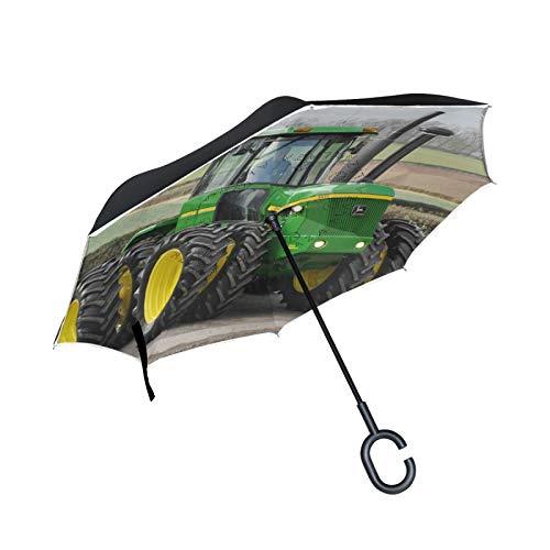 Double Layer Inverted Umbrella Winddichte Regensonnen-Regenschirme mit C-förmigem Griff - klassischer Traktor