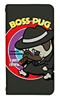 [XPERIA 5 SOV41] ベルトなし スマホケース 手帳型 ケース エクスペリア5 8320-A. BossPug02ブラック かわいい 可愛い 人気 柄 ケータイケース ヌヌコ 谷口亮