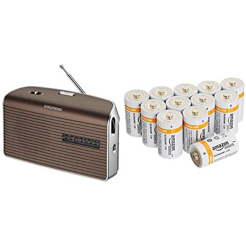 Gr&ig Music 60, empfangsstarkes Radio im modernen Design, Brown/Silver und Amazon Basics Batterien Alkali, Typ D, 12Stück
