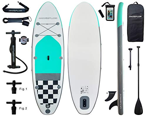 Aqua Plus 10ft6inx33inx6in Inflatable SUP for All Skill Levels Stand Up Paddle Board Boat, Adjustable Paddle,Double Action Pump,ISUP Travel Backpack, Leash, Shoulder Strap, TPU Waterproof Bag