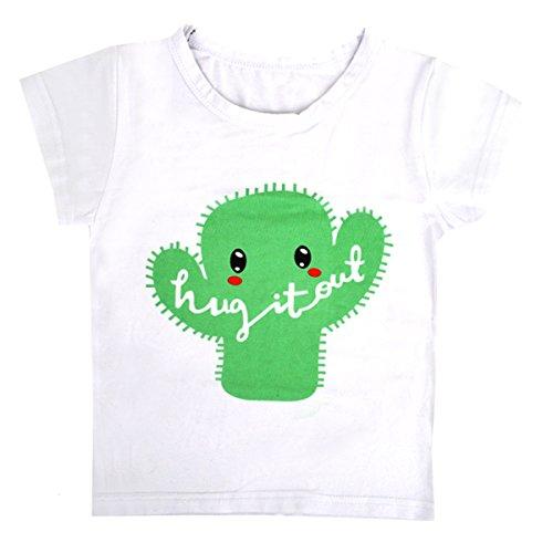 ABBY Tee Shirt Manches Courtes Fille Garçon en Coton Imprimé pour Ete et Automne