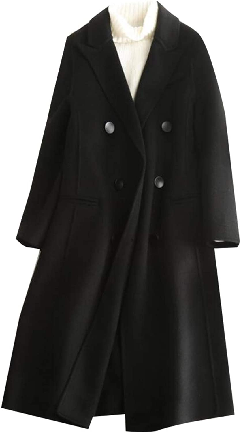 Esast Womens Winter Lapel Double Breasted Wool Trench Coat Long Overcoat