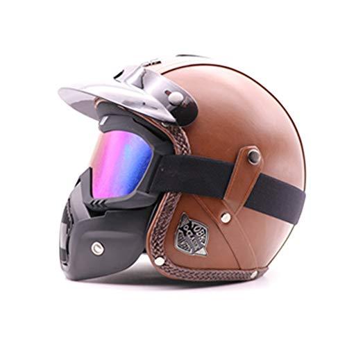 MRDEAR Retro Motorradhelm, Handgemachtes PU-Leder Full-face Helm mit Visier Maske Brille, Vintage Integralhelm Unisex Scooter-Helm Roller Sturz-Helm (M,L,XL),M