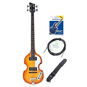 """Rocktile VB-1″Sir Paul"""" Vintage Beatbass E-Bass Set – Hollow Body E-Bass im Violinbass-Design mit 2 Humbucker Pickups – inkl. Gitarrengurt, Kabel & E-Bass Schule – Sunburst"""