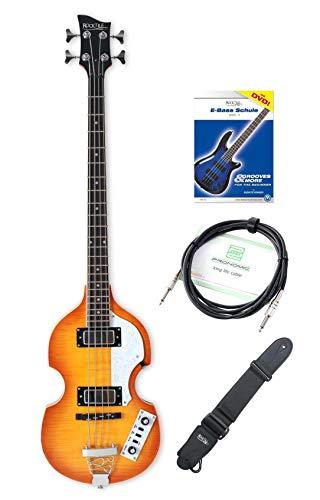 """Rocktile VB-1""""Sir Paul"""" Vintage Beatbass E-Bass Set - Hollow Body E-Bass im Violinbass-Design mit 2 Humbucker Pickups - inkl. Gitarrengurt, Kabel & E-Bass Schule - Sunburst"""