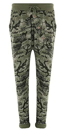 Eitex Damen Jogginghose Sweatpants mit Sternen Anker Camouflage und Uni Farben (46/48, Camouflage grün)