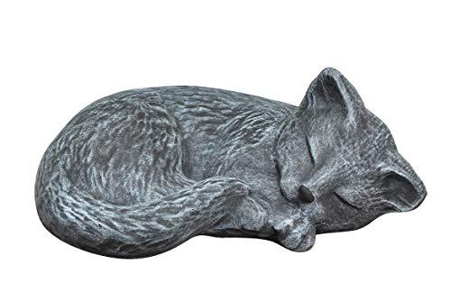 Tiefes Kunsthandwerk Steinfigur Katze schlafend in Schiefergrau, Figur, Deko