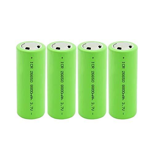 MNJKH BateríAs De Iones De Litio De 3.7v 8800mah 26650, Batería Recargable para Linterna 4PCS