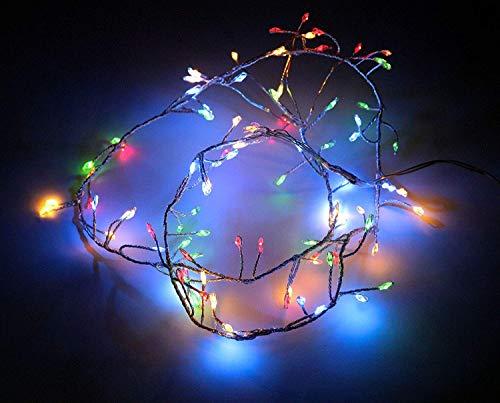 hibuy LED Cluster Lichterkette/Drahtlichterkette - 100 LEDs, 8 Funktionen - Batterie betrieben - 150 cm lang