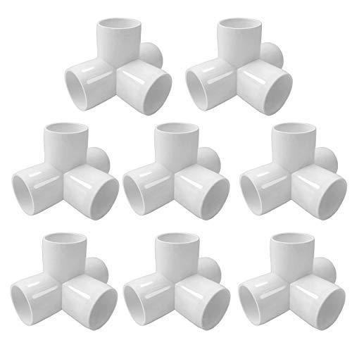 SELLERS360 4Way 1 inch PVC Fittings Corner Cross Elbow 45 90 Degree for Greenhouse Shed Pipe, Tent Connection Tee, Furniture Build Grade SCH40 [Pack of 12]