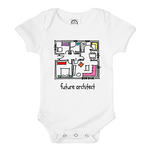 The Spunky Stork Baby Future Architect Organic Cotton Newborn Bodysuit Gift (3-6m) White
