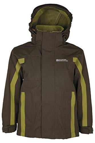 Mountain Warehouse Samson Kids Waterproof Jacket Taped Seams Rain Jacket Adjustable Cuffs Boys Triclimate Coat Mesh Lined Girls Raincoat for Travelling Khaki 7 8 Years