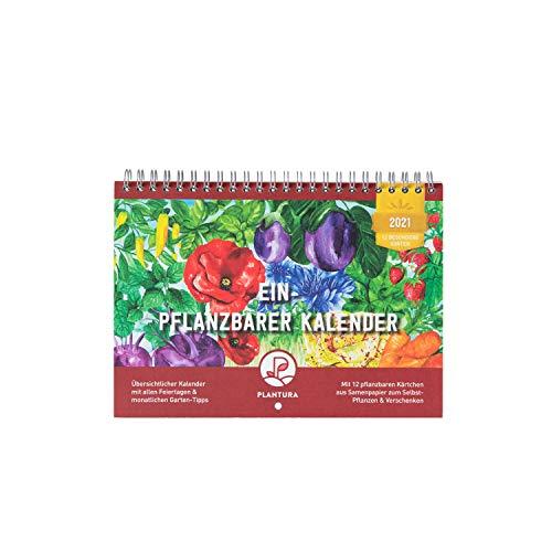 Plantura Einpflanzbarer Kalender 2021, DIN A5 Wandkalender, Saatgut-Kalender mit 12 Samenkarten zum Einpflanzen, Geschenkidee