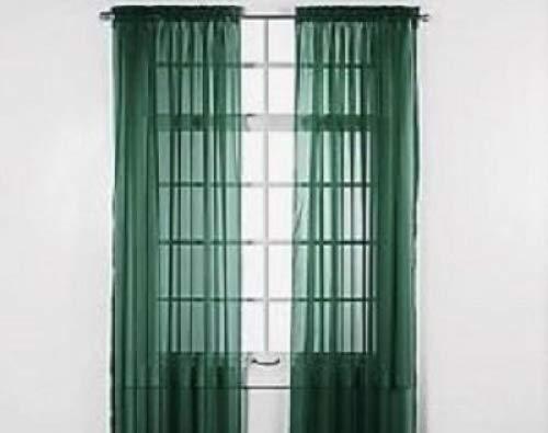 GorgeousHomeLinenDifferent Solid Colors 2 PC Rod Pocket Sheer Window Curtains Treatment Drape Voile Elegant Panels 55' Width X 63' 84' 95' Length (84' Length, Hunter Green)
