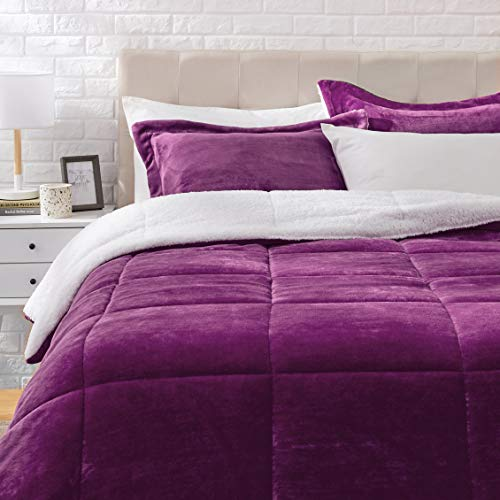 Amazon Basics Ultra-Soft Micromink Sherpa Comforter Bed Set - Plum, Full/Queen