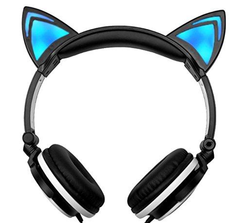 Lukis Katze Ohren Kopfhörer Kopfhörer für Kinder Erwachsene mit LED-Licht Faltbare Over-Ear Gaming Kopfhörer Cosplay Headsets (Schwarz-Weiß)