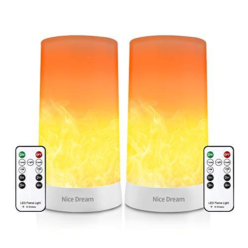 2 Stück LED Flamme Wirkung Licht mit Fernbedienung, LED Kerzen Flackernde Flamme Lampe mit Akku, Wiederaufladbar Flackernde Flamme Glühbirnen Nachtlicht Baby, LED Feuer, Tischkamin Elektrisch