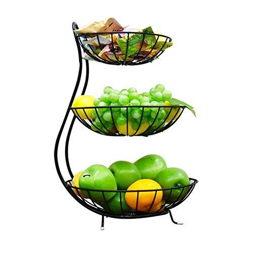 Greenf - Frutero grande de 3 pisos, cesta para frutas, cuenco de...