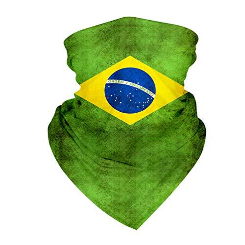 PRETYZOOM Bandana Schlauchschal Brasilien Flagge Sonnenschutz Halstuch Stirnband Kopftuch Nackenschutz Elastiche Schal Sturmhaube Unisex Sport Camping Radfahren Angeln Wandern Laufen Motorrad