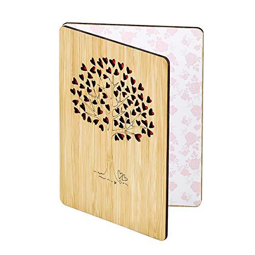 Bambuskarte Beschreibbare mit Herz Baum Geschenk Hochzeitskarte Geschenkkarte Holzkarte für Jeden Anlass Grußkarte DIY Beschreiben Hochzeitstag Geburtstag Jubiläum Karte