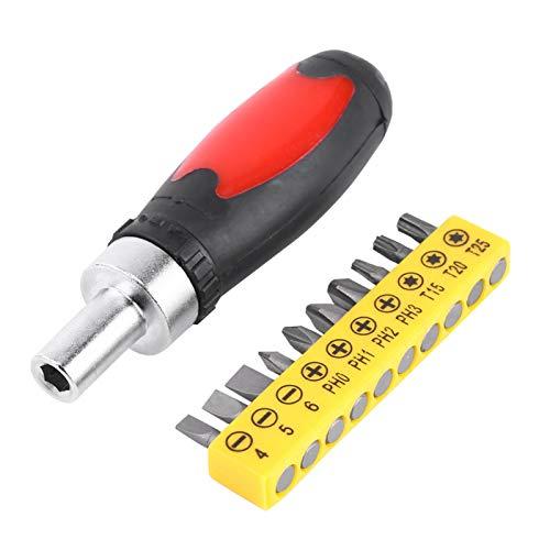 HISUNY - Destornillador manual con 10 puntas de destornillador intercambiables con ranura en forma de estrella cruzada