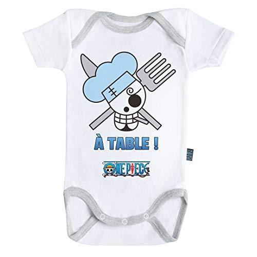 Baby Geek Emblème Sanji - One Piece ™ - Licence Officielle - Body Bébé Manches Courtes (6-12 Mois)