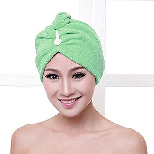 Blanco Coral Velvet Toalla de baño para el Cabello seco Microfibra Turbante de Secado rápido Súper Absorbente Gorro para el Cabello para Mujer Wrap con botón Espesar - Verde