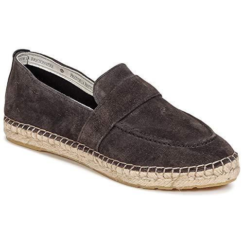 Fred de la Bretoniere Francois Stoffpantoletten/Espandrillos Damen Grau - 36 - Leinen-Pantoletten Mit Gefloch Shoes