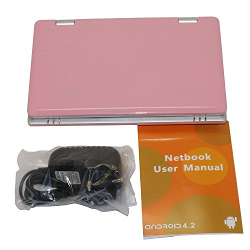 Mini-Laptop, 4 GB, 7 Zoll, Netbook, Android 4.0 (Ice Cream Sandwich OS), mit Webcam für Skype, Ladegerät mit UK-Stecker, kompatibel mit BBC iPlayer/Youtube/Facebook Rosa