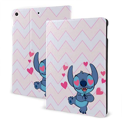 Pink Love Cute Stitch Case Fit iPad 7 th 10.2 Inch Case with Auto Sleep/Wake Ultra Slim Lightweight Stand Leather Case