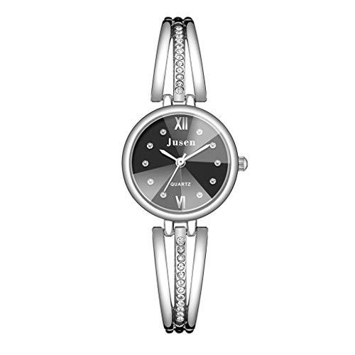 Janly - Reloj de pulsera para mujer, diseño simple con incrustaciones de aleación
