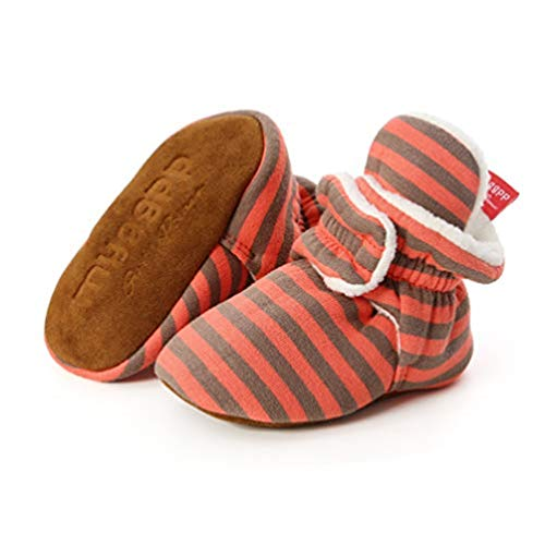 Botas de Niño Calcetín Invierno Soft Sole Crib Raya de Caliente Boots de Algodón para Bebés (0-6 Meses, Raya - Naranja)