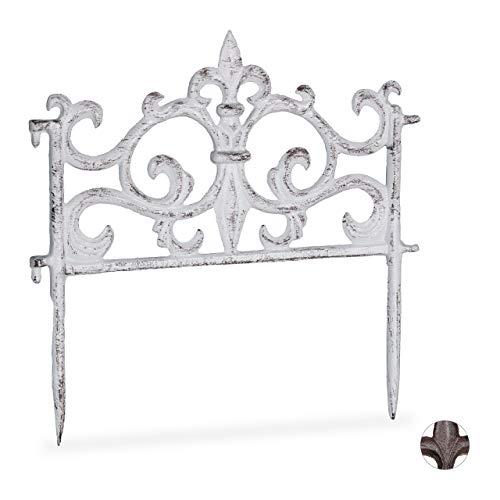 Relaxdays Beetzaun, Gusseisen, Vintage Design, einzeln, erweiterbar, Erdspieß, dekorativer Steckzaun, HxB 27x27 cm, weiß