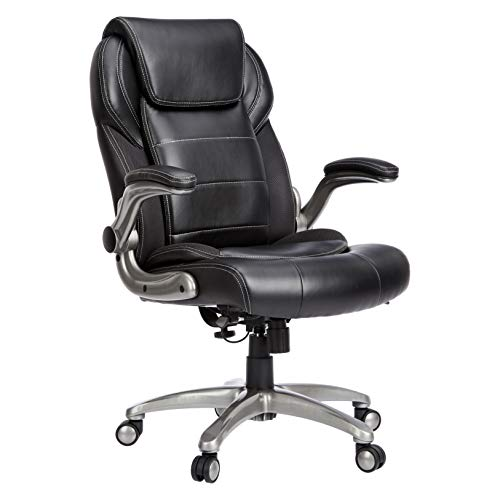 AmazonBasics Extra Comfort High-Back Leather Executive Chair with Flip-Up Arms and Lumbar Support, Black