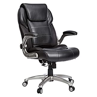AmazonBasics Extra Comfort High-Back Leather Executive Chair with Flip-Up Arms and Lumbar Support