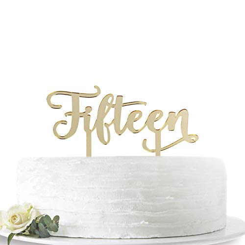 Mirror Gold Fifteen Cake Topper -Happy 15th Birthday or 15th Anniversary Cake Topper Acrylic Party Decoration Supplies