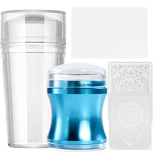 Jelly Nagel Stempel Silikon - French Nail Art Stamper Set 2 Transparent nagelstempel mit 1 Schaber Mustern NagelStamping Nail DIY Nageldekoration (Transparent+Blau)