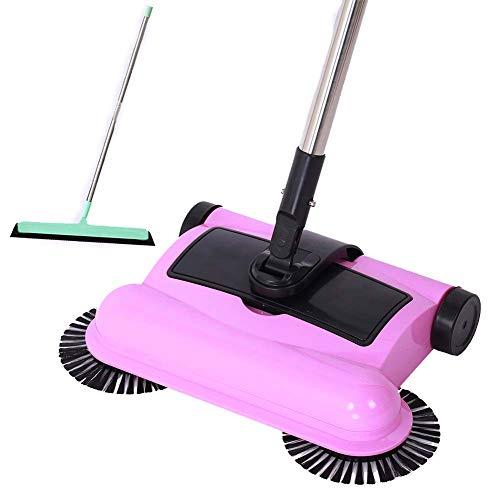 Cyclonische bezem veegmachine - Swab spinnen schone vloer - 360° roterende reiniger - aparte vuilnisbak roze
