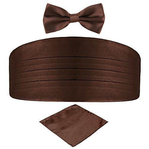 DonDon DonDon 3er Set Herren Kummerbund Fliege Einstecktuch farblich abgestimmt glänzend für feierliche Anlässe - Braun
