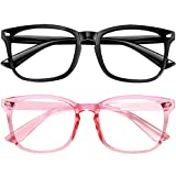 Blue Light Blocking Glasses 2pack Square Computer Glasses Women/ Men, Nerd Reading Gaming Glasses Non Prescription (black+pink)