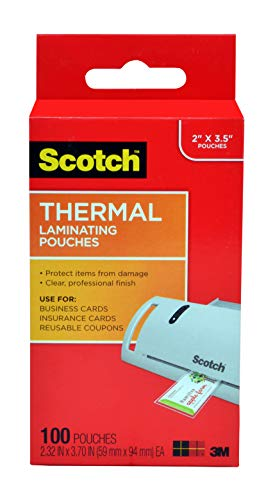 Scotch Thermal Laminating Pouches 232 x 370Inches Business Card Size 100Pack TP5851100