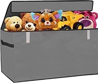 Prorighty Collapsible Toy Chest for Kids (XX-Large) Storage Basket w/Flip-Top Lid   Toys Organizer Bin for Bedrooms, Closets, Child Nursery   Store Stuffed Animals, Games, Clothes (Gray)