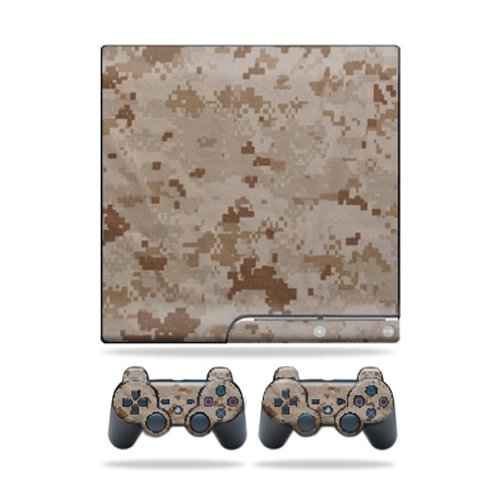 MightySkins Skin Compatible with Sony Playstation 3 PS3 Slim Skins + 2 Controller Skins Sticker Desert Camo