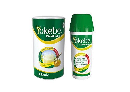 Yokebe Classic Diät Shake, Starterpaket inklusive Shaker, Mahlzeitersatz, Pulver mit hochwertigen Proteinen für langanhaltende Sättigung, mit Bienenhonig, 1er Pack (500g)