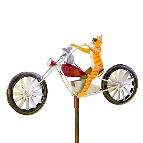 Eteslot Vintage Fahrrad Metall Wind Spinner, Fahrradfrösche/Hasen/Mantis/Katze Spinner, Outdoor Garden & Yard Windmühlen Dekor Skulptur, Roadrunner Yard Art